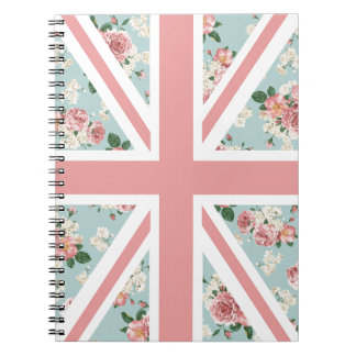 English Roses Union Jack Floral Pattern Notebooks