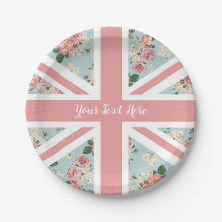 English Roses Union Jack Floral Pattern Paper Plate