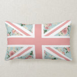 English Roses Union Jack Floral Pattern Throw Pillow