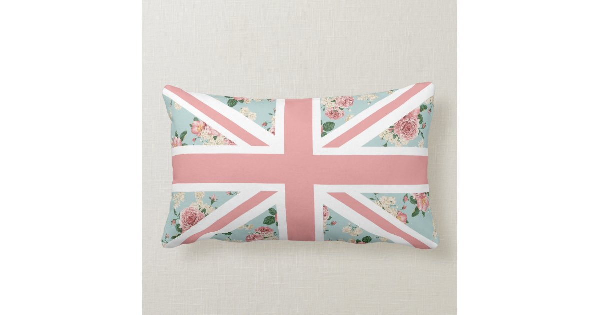 Free Knitting Pattern For Union Jack Cushion Cover : English Roses Union Jack Floral Pattern Throw Pillow Zazzle