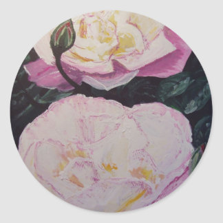 English Roses WaterColor Classic Round Sticker