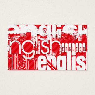 English; Scarlet Red Stripes Business Card