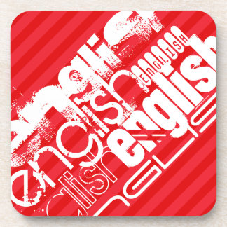 English; Scarlet Red Stripes Drink Coasters