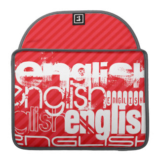 English; Scarlet Red Stripes Sleeve For MacBooks