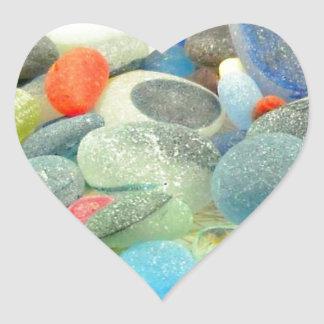 English Sea Glass Heart Sticker