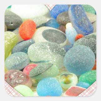 English Sea Glass Square Stickers