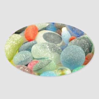 English Sea Glass Oval Sticker