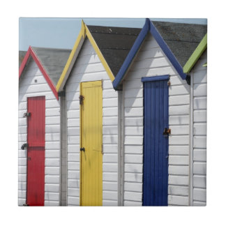 English Seaside Beach Huts Ceramic Tile