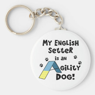 English Setter Agility Dog Keychain
