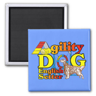 English Setter Agility Gifts 2 Inch Square Magnet