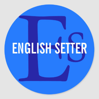 English Setter Breed Monogram Classic Round Sticker