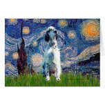English Setter (BW) - Starry Night Greeting Cards