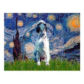 English Setter (BW) - Starry Night Postcard