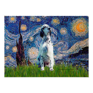 English Setter (BW) - Starry Night Poster