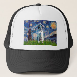 English Setter (BW) - Starry Night Trucker Hat