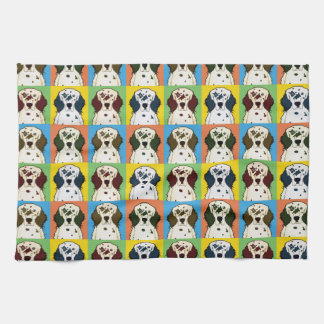 English Setter Dog Cartoon Pop-Art Kitchen Towels