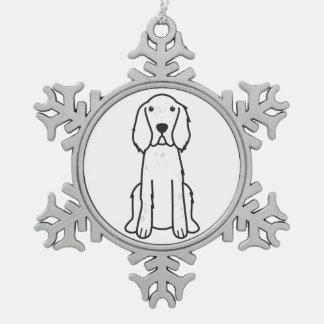 English Setter Dog Cartoon Snowflake Pewter Christmas Ornament