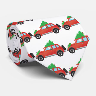 English Setter Dog Driving car w/ Christmas tree Neck Tie