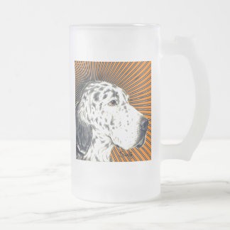 English Setter Frosted Glass Beer Mug