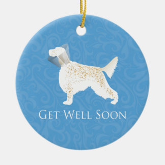 English Setter Get Well Soon Dog Silhouette Ceramic Ornament