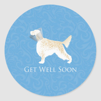 English Setter Get Well Soon Dog Silhouette Classic Round Sticker