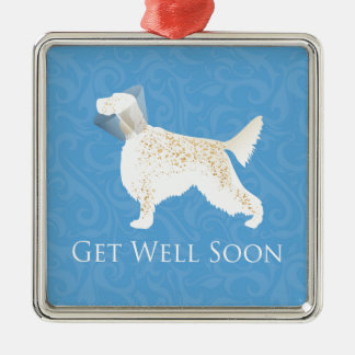 English Setter Get Well Soon Dog Silhouette Metal Ornament