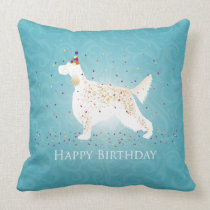 English Setter Happy Birthday Design Throw Pillow