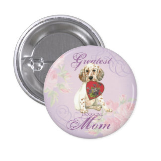 English Setter Heart Mom Pinback Button