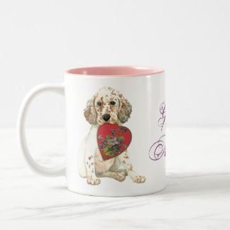 English Setter Heart Mom Two-Tone Coffee Mug