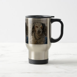English Setter in Snow 3 Travel Mug