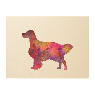 English Setter in watercolor Wood Print