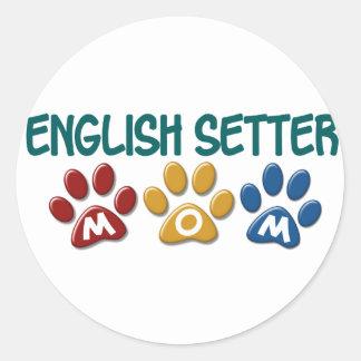 ENGLISH SETTER Mom Paw Print 1 Classic Round Sticker