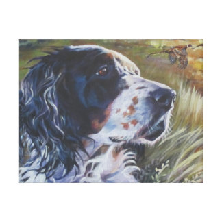 English Setter Painting on Wrapped Canvas