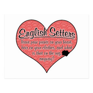 English Setter Paw Prints Dog Humor Postcard
