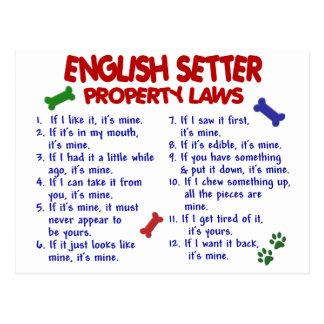 ENGLISH SETTER Property Laws 2 Postcard