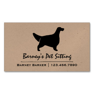 English Setter Silhouette Business Card Magnet