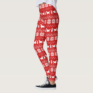English Setter Silhouettes Christmas Pattern Leggings