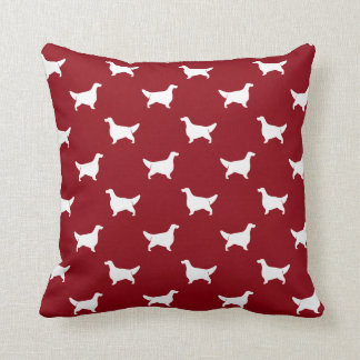 English Setter Silhouettes Pattern Red Pillow