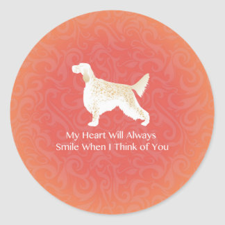 English Setter Thinking of You Pet Memorial Classic Round Sticker