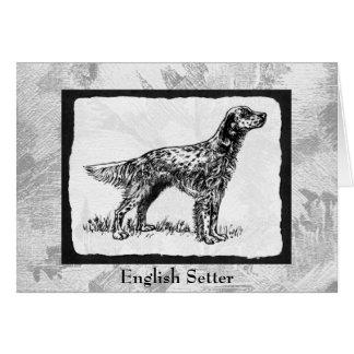 English Setter Vintage dog Art Card