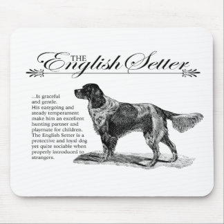 English Setter Vintage Storybook Style Mouse Pad