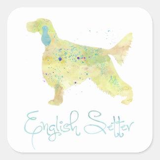 English Setter Watercolor Square Sticker