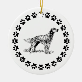 English Setter with Pawprints Ceramic Ornament