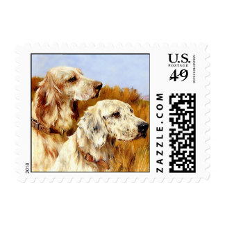 English Setters - Dog Art Stamp
