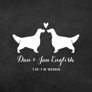 English Setters Wedding With Custom Text Napkin