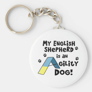 English Shepherd Agility Dog Keychain