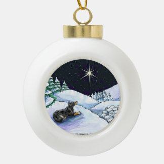 English Shepherd Christmas ornament- Blk & Tan Ceramic Ball Christmas Ornament