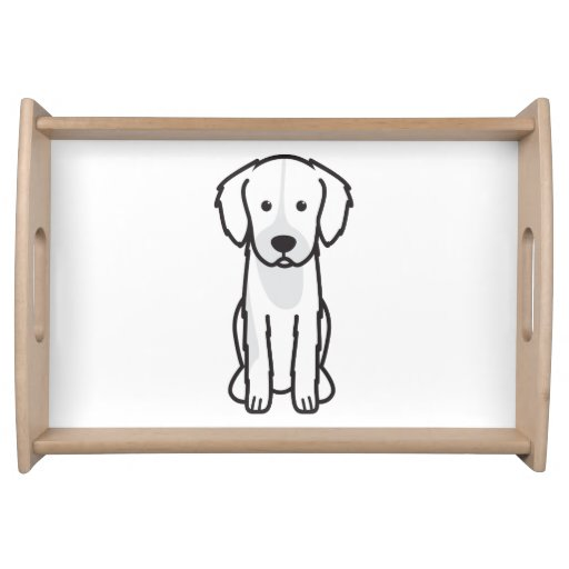 English Shepherd Dog Cartoon Serving Trays