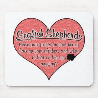 English Shepherd Paw Prints Dog Humor Mouse Pad