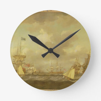 English Ships Coming to Anchor in a Fresh Breeze ( Round Clock